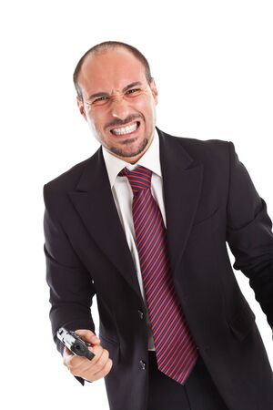 a businessman with a gun expressing anger photo
