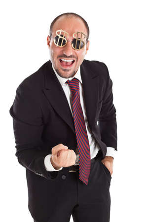 Businessman with dollar-sign glasses standing and cheering photo