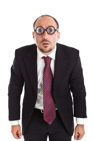 A businessman wearing thick, circle glasses photo
