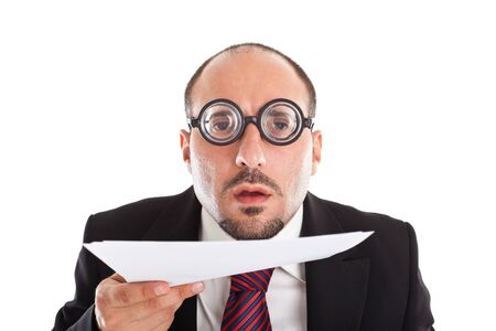 big eyes: A businessman wearing thick, circle glasses Stock Photo