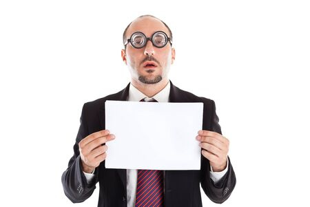 poor eyesight: A businessman wearing thick, circle glasses Stock Photo
