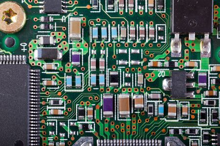 Macro shot of a dirty circuit board Stock Photo