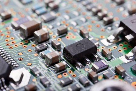 chipset: Macro shot of a dirty circuit board Stock Photo