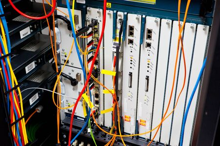 server farm: Network servers router in a data center. Stock Photo