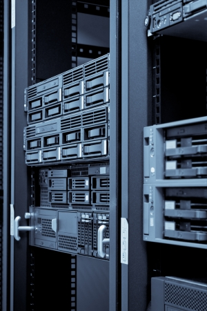 virtualization: Network servers hdd in a data center. Swallow depth of field