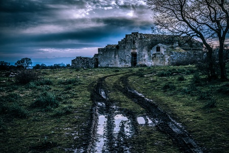 an ancient and abandoned rural house in Italy