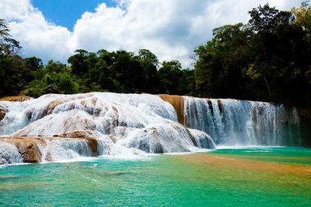 Agua Azul Waterfall, Yucatan, Mexico Stock Photo