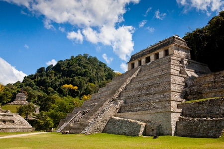 Temple of Palenque, an ancient mayan ruin, located in Palenque, Yucatan, Mexico Stock Photo