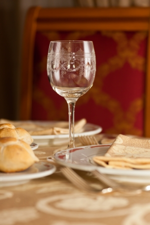ornated: Ornated glass in a restaurant Stock Photo