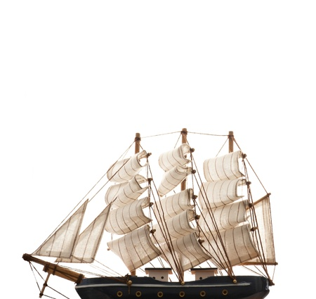 A ship model isolated on white background. copyspace on top photo