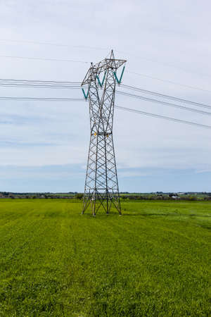 An electricity pylon in a green and vibrant field photo