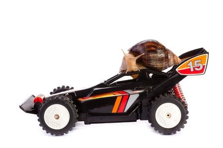 rc: RC 장난감 자동차 경주에 달팽이 스톡 사진