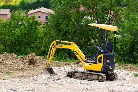 earthmover: Earthmover on a construction site Stock Photo