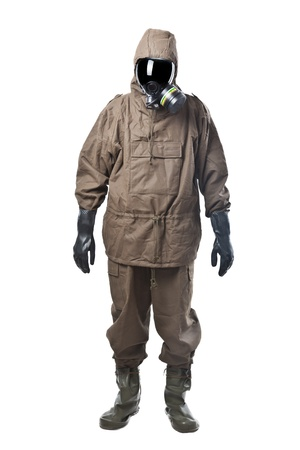 hazmat: A man wearing an NBC Suite (Nuclear - Biological - Chemical) Stock Photo