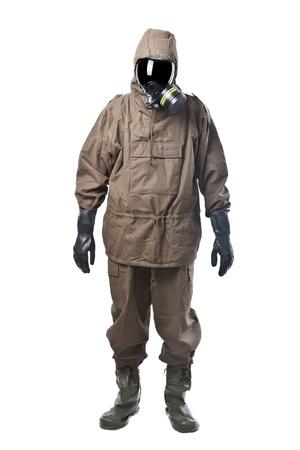 Un hombre con una suite NBC (Nuclear - Biológico - Químico)