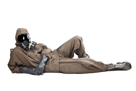 gasmask: A man wearing an NBC Suite (Nuclear - Biological - Chemical) Stock Photo