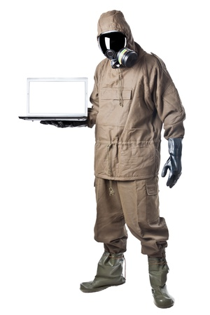 A man wearing an NBC Suite (Nuclear - Biological - Chemical) Stock Photo - 19563642