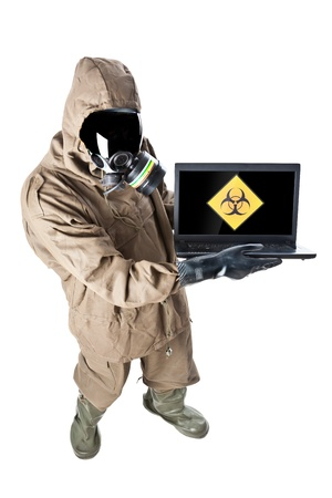 A man wearing an NBC Suite (Nuclear - Biological - Chemical) photo