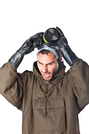 A man wearing an NBC Suite (Nuclear - Biological - Chemical) Stock Photo - 19563673