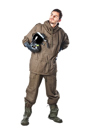 A man wearing an NBC Suite (Nuclear - Biological - Chemical) Stock Photo - 19563657