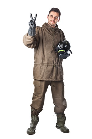 A man wearing an NBC Suite (Nuclear - Biological - Chemical) Stock Photo - 19563674