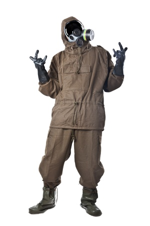 A man wearing an NBC Suite (Nuclear - Biological - Chemical) Stockfoto