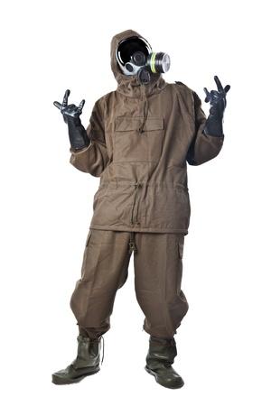 hazmat: Un uomo che indossa una Suite NBC (Nucleare - Biologico - Chimico) Archivio Fotografico