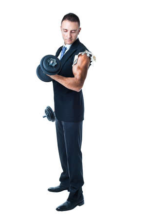 a very muscular businessman holding weights photo