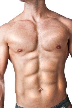 male nude: un bodybuilder piedi su uno sfondo bianco