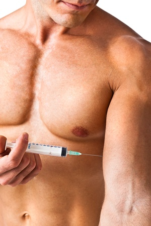 a muscular man with a syringe photo