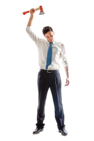 Ņhatchet: a young Businessman with hatchet standing