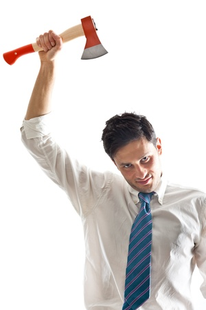 deranged: a young Businessman with hatchet showing some documents Stock Photo