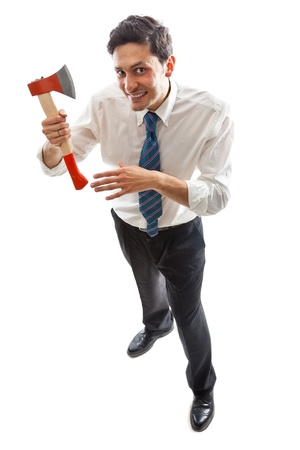 a young Businessman with hatchet standing photo