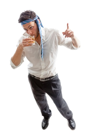 drunk party: a Drunk Businessman drinking a glass of whiskey with ice