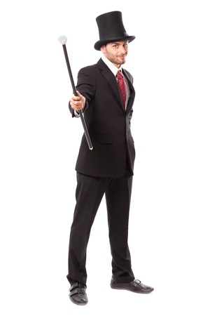 Businessman with Yop Hat and walking stick in a suite