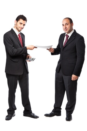 Two Businessman standing on a white background  Stock Photo - 20327066