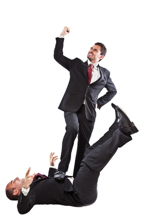 two Businessman at war isolated on a white background