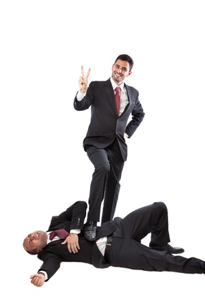two Businessman at war isolated on a white background  photo