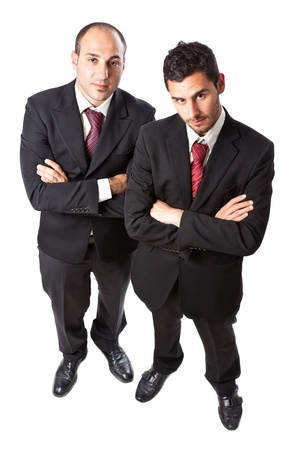 Two Businessman standing on a white background  photo