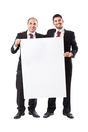 Two Businessman standing on a White background holding a billboard photo