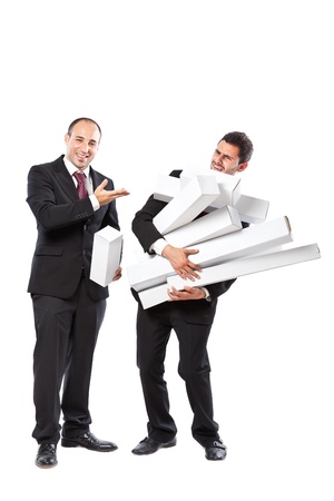 Two Businessman standing on a white background carryng some white boxes Stock Photo - 20309947