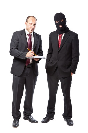 two businessman on white background, one wearing a balaclava