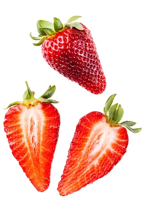 Studio shot of ripe and vibrant strawberries photo