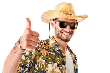 endorse: a young, attractive male in a colorful outfit ready to travel as a stereotype tourist Stock Photo