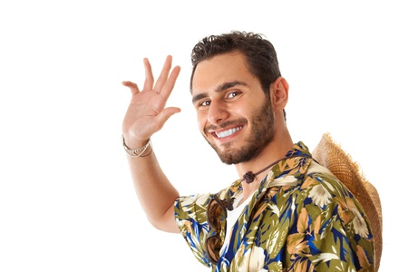 stereotype: a young, attractive male in a colorful outfit ready to travel as a stereotype tourist Stock Photo