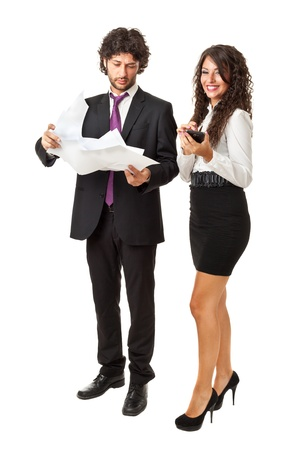 screwed: A businessman with a lot of messy papers in his hands and a smart businesswoman witha nice smartphone over a white background