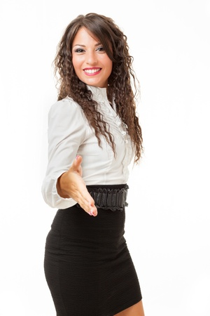 A beautiful and elegant business woman over a white background
