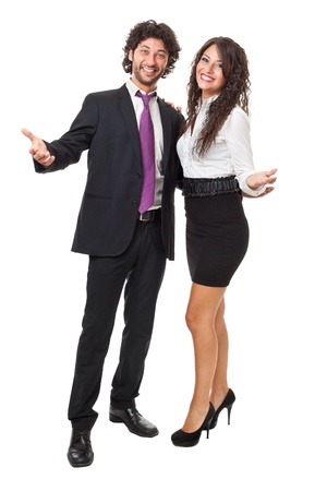 handsome businessman and gorgeous business woman with open arms over a white background