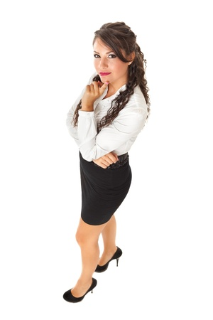 hesitations: a Beautiful business woman posing over a white background