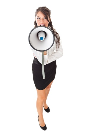 A pretty business woman with a megaphone over a white background photo